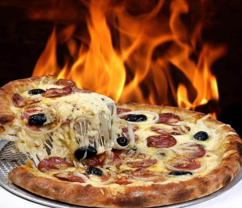 Pizza on fire