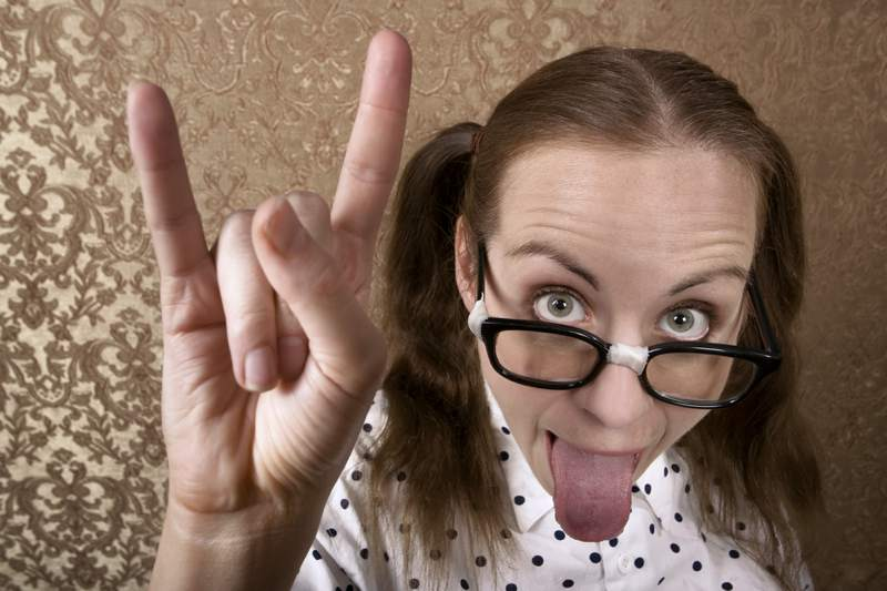 nerdy awkward woman