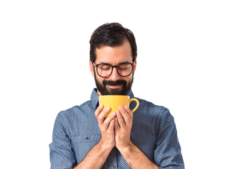 Hipster man drinking coffee