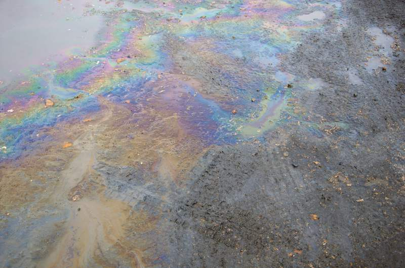 Oil slick on road