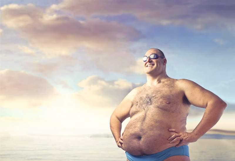 fat man on beach