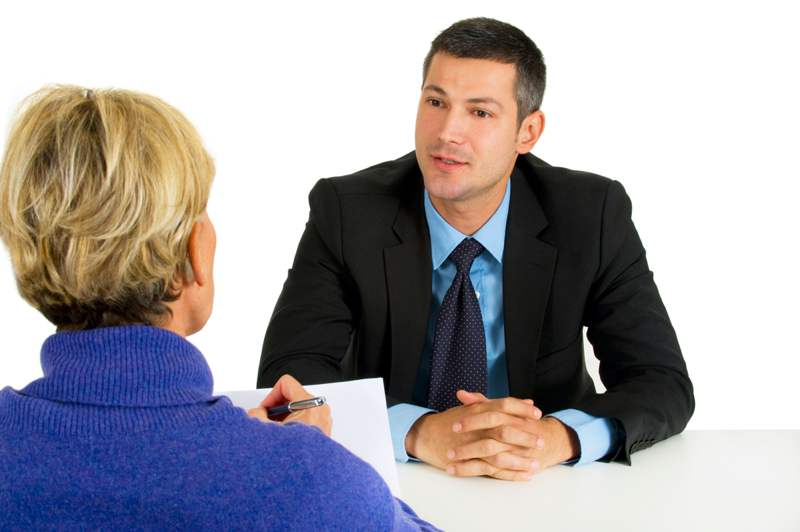 man at interview