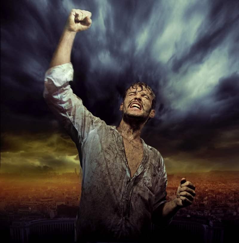 triumphant man