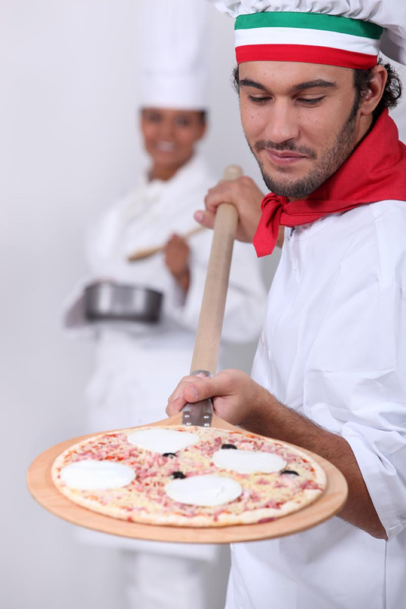Italian man with pizza