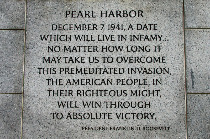 FDR Pearl Harbor quotation in stone